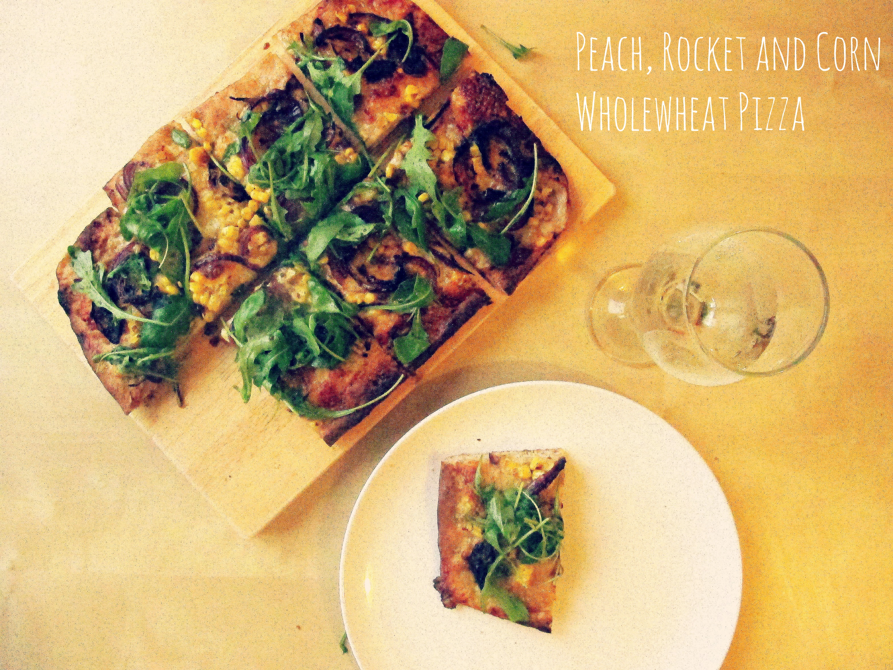 Peach Rocket and Corn Wholewheat Pizza