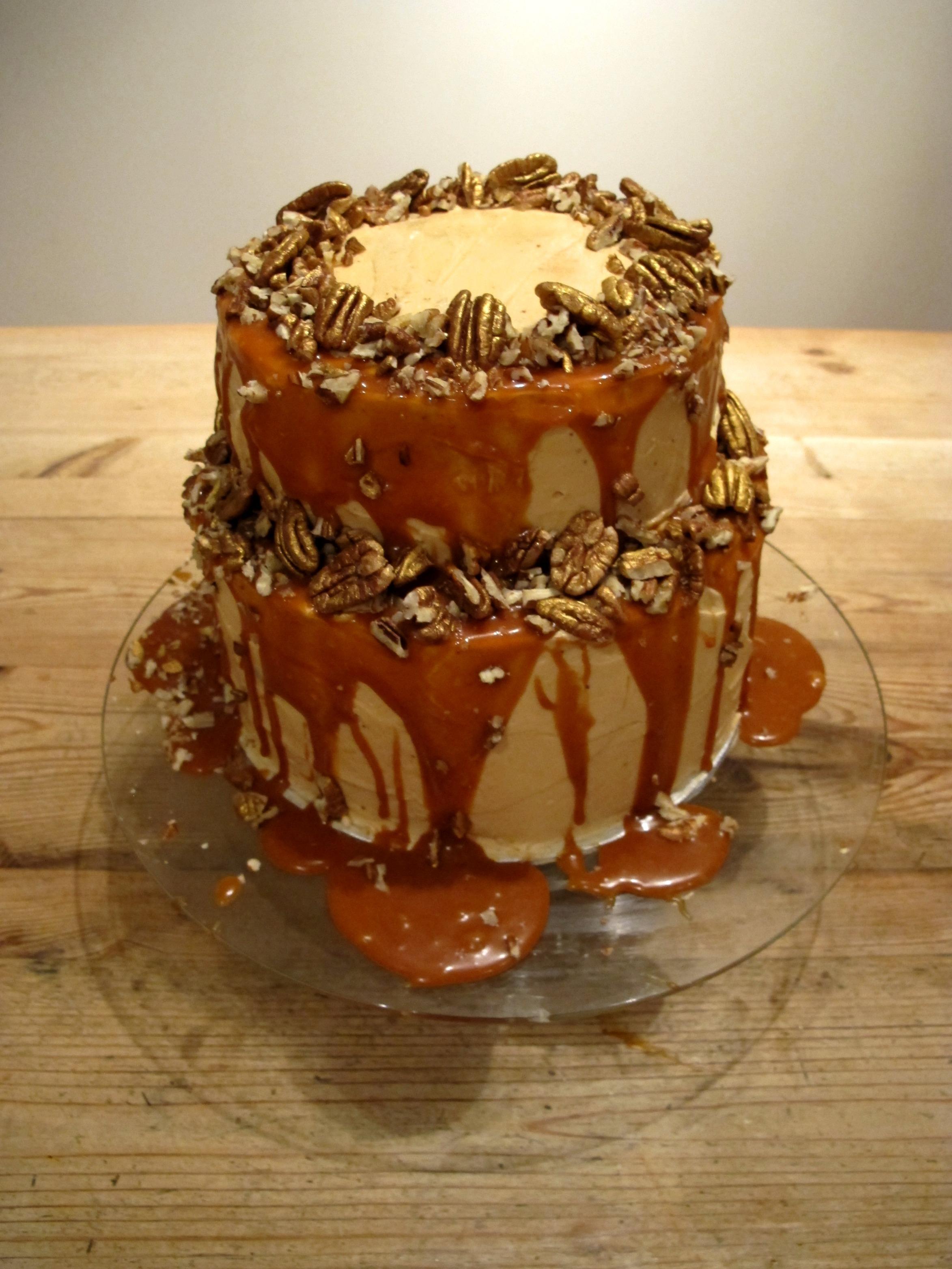 Salted Caramel, Golden Pecan and Chocolate Celebration Cake