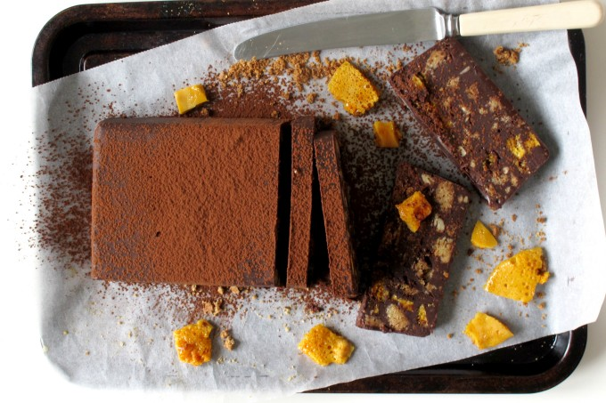 Bourbon Chocolate Honeycomb Biscuit Cake