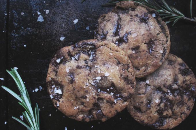 Rosemary Brown Butter Dark Chocolate Cookies with Smoked Salt