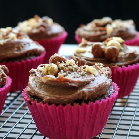 Nutella Brownie Cupcakes with Salted Chocolate Hazelnut Buttercream